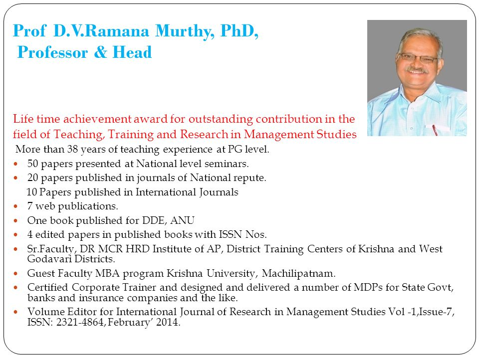 Prof D.V.Ramana Murthy, PhD, Professor & Head