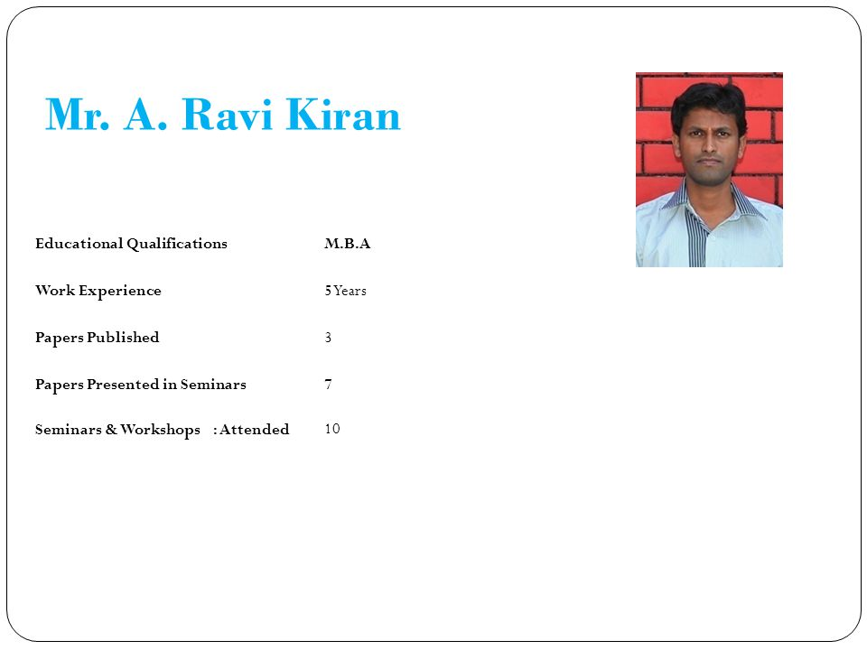 Mr. A. Ravi Kiran Educational Qualifications M.B.A Work Experience