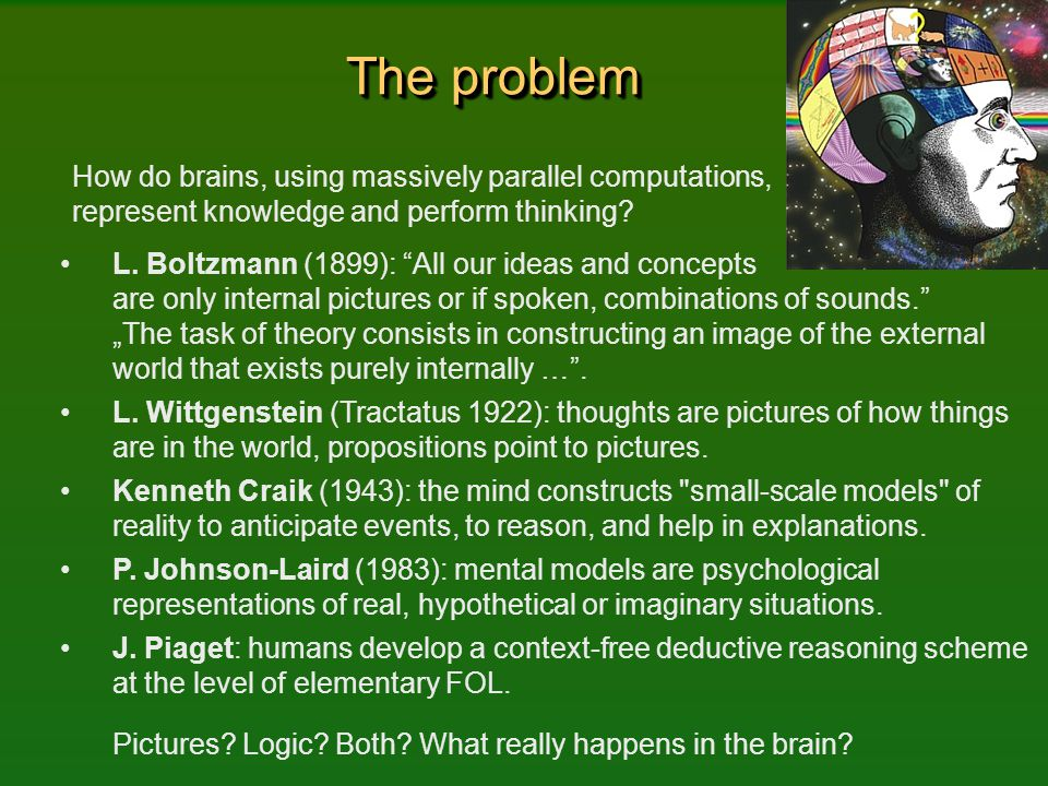 The problem How do brains, using massively parallel computations, represent knowledge and perform thinking