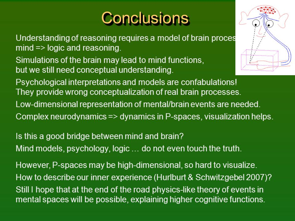 Conclusions Understanding of reasoning requires a model of brain processes => mind => logic and reasoning.
