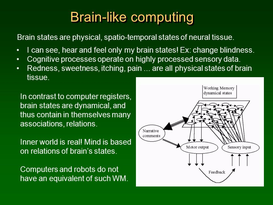 Brain-like computing Brain states are physical, spatio-temporal states of neural tissue.