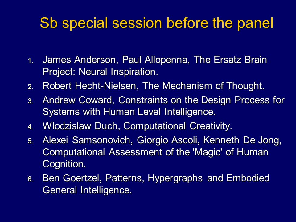 Sb special session before the panel