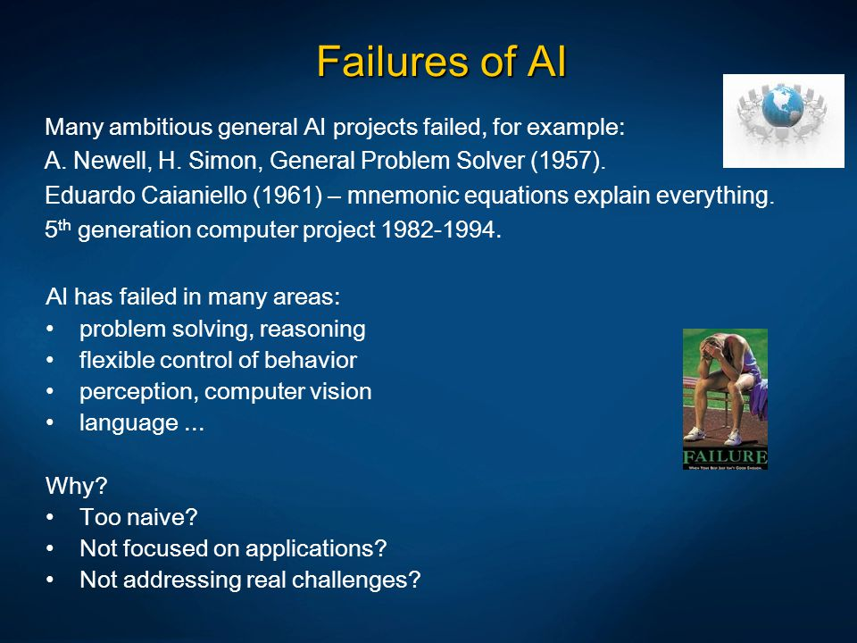 Failures of AI Many ambitious general AI projects failed, for example: