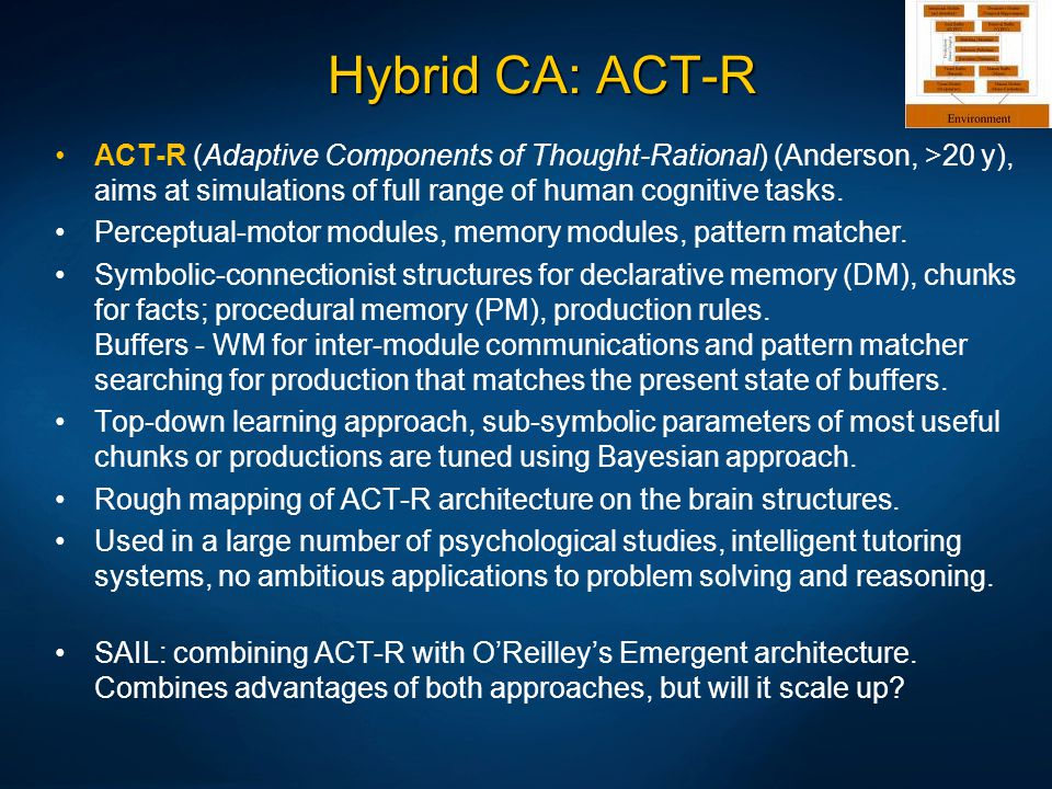 Hybrid CA: ACT-R ACT-R (Adaptive Components of Thought-Rational) (Anderson, >20 y), aims at simulations of full range of human cognitive tasks.