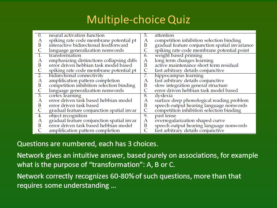 Multiple-choice Quiz Questions are numbered, each has 3 choices.