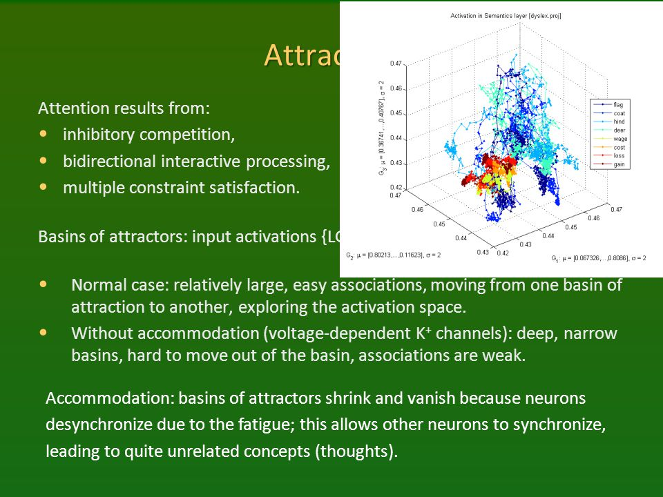 Attractors Attention results from: inhibitory competition,