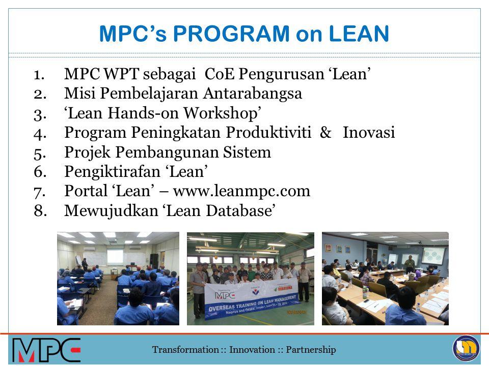 MPC's PROGRAM on LEAN MPC WPT sebagai CoE Pengurusan 'Lean'