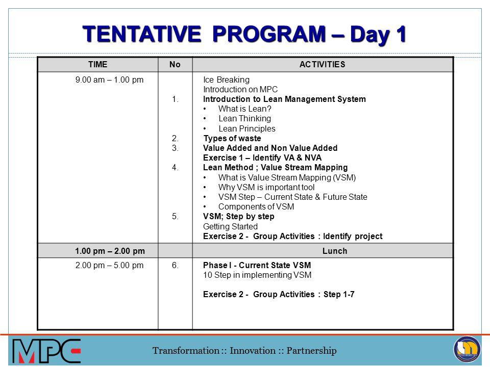 TENTATIVE PROGRAM – Day 1
