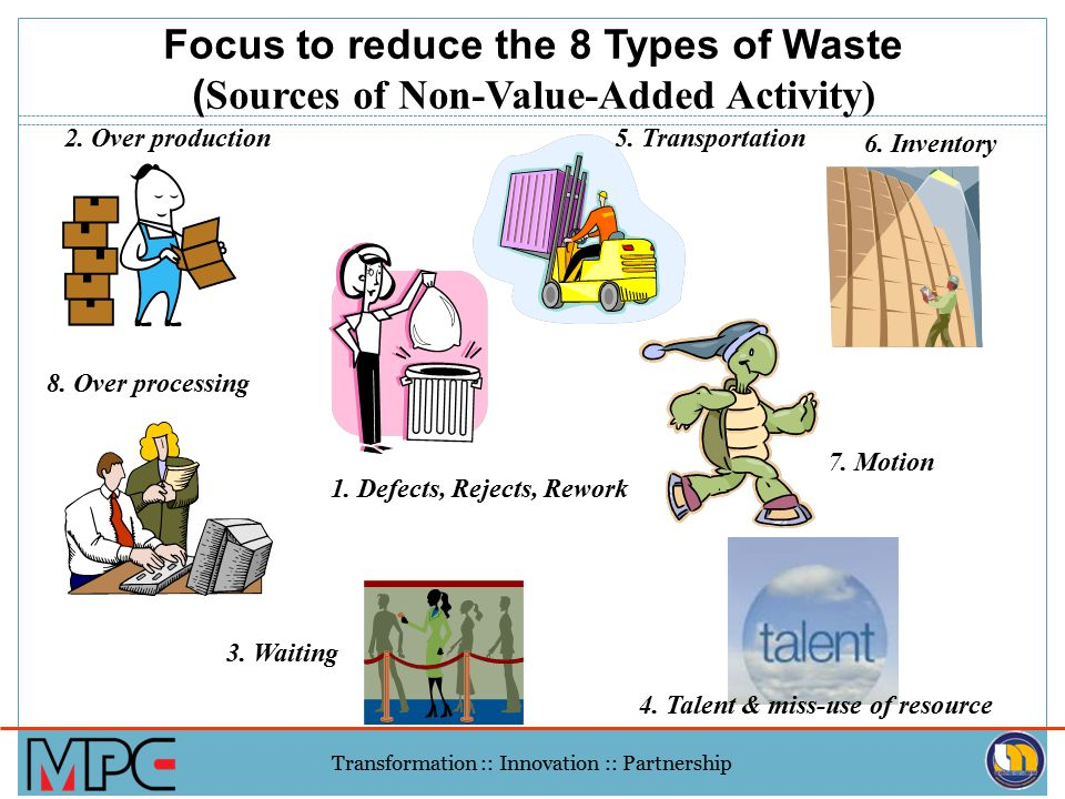 Focus to reduce the 8 Types of Waste