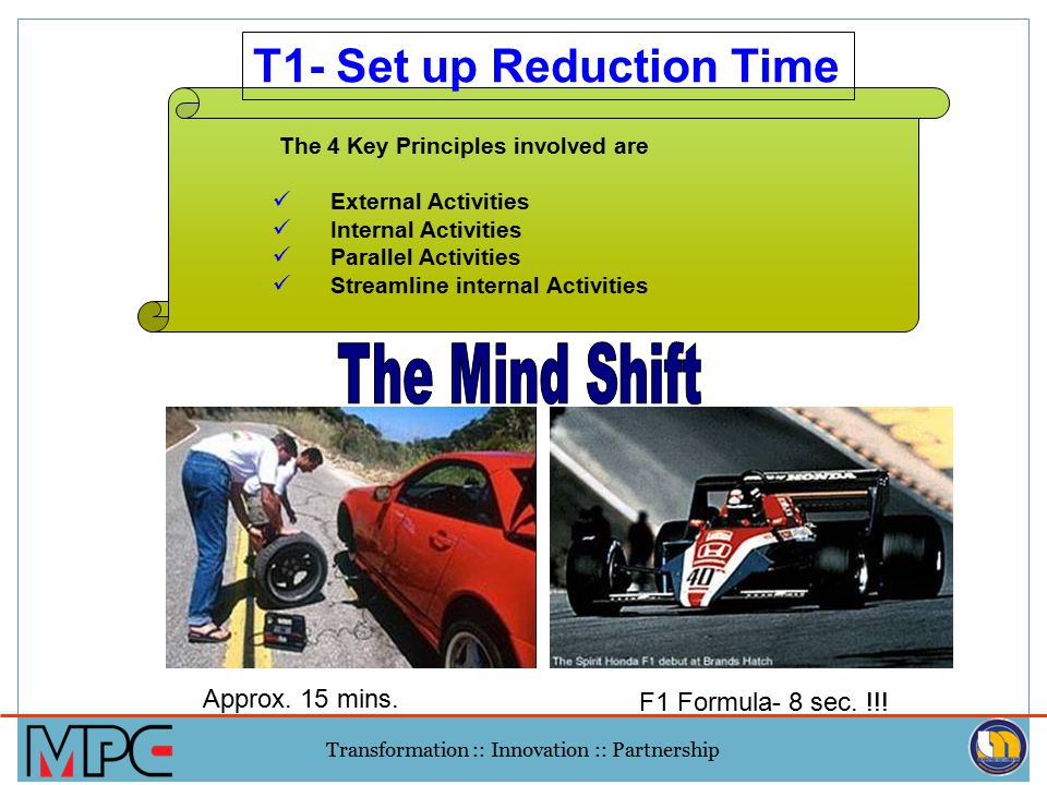 T1- Set up Reduction Time
