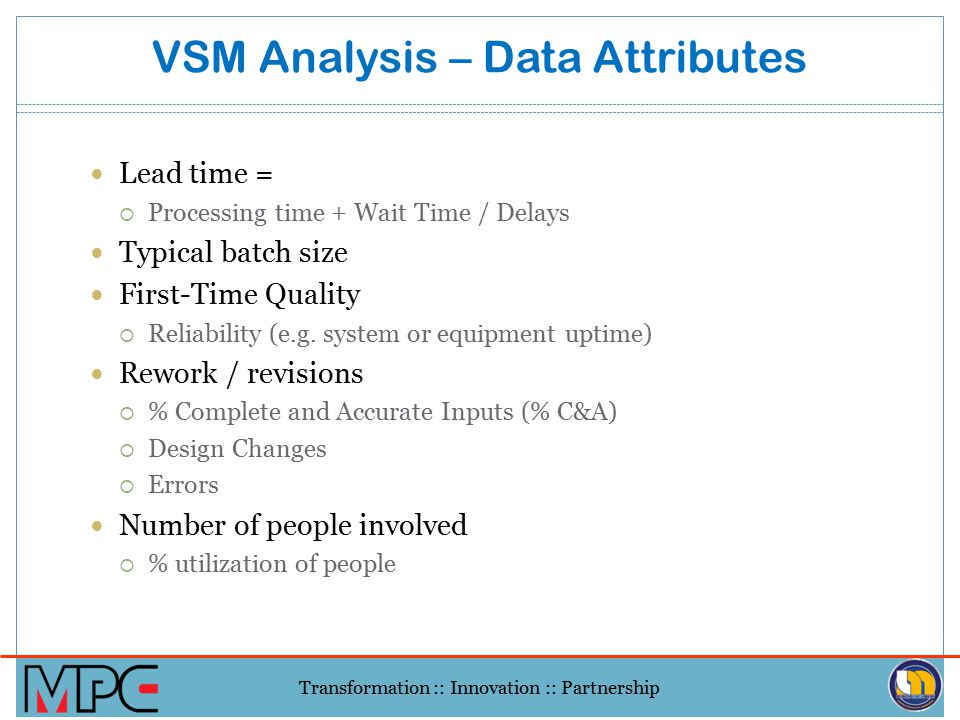 VSM Analysis – Data Attributes