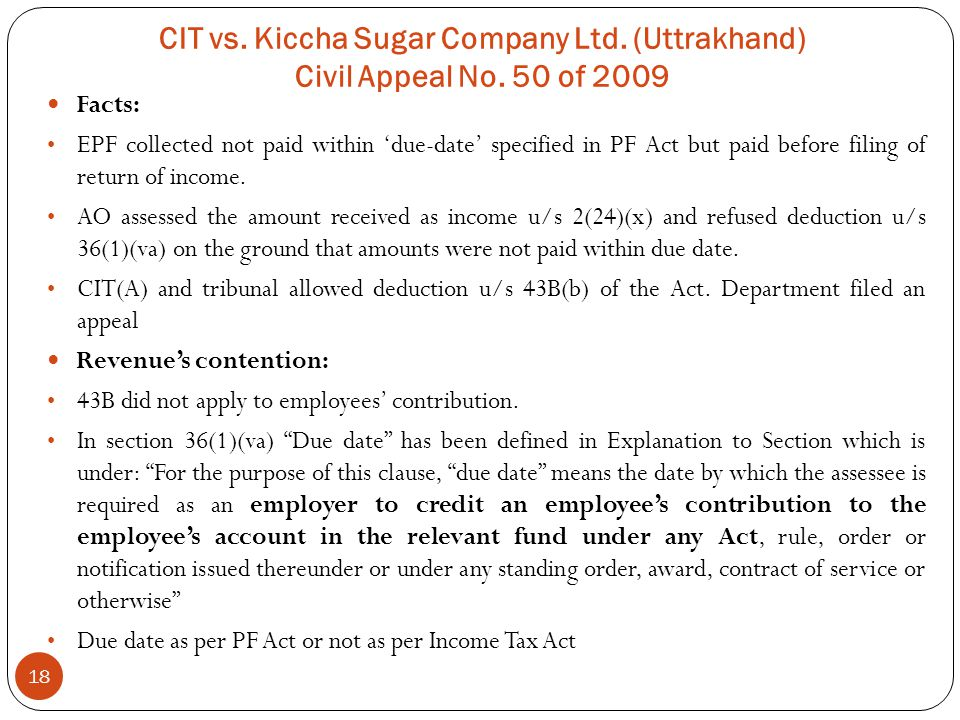 CIT vs. Kiccha Sugar Company Ltd. (Uttrakhand) Civil Appeal No