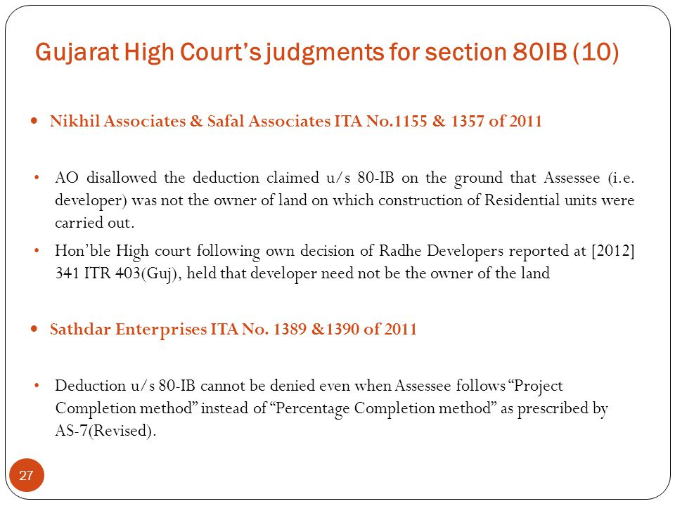 Gujarat High Court's judgments for section 80IB (10)