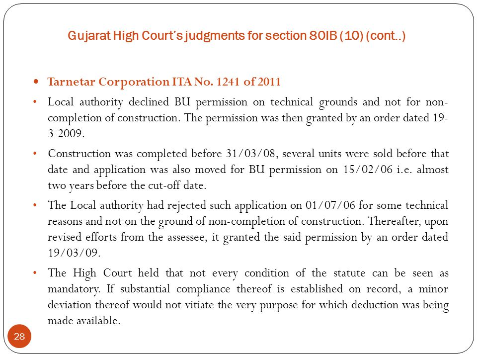 Gujarat High Court's judgments for section 80IB (10) (cont..)