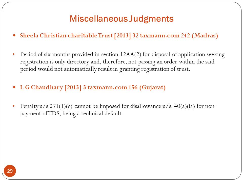 Miscellaneous Judgments