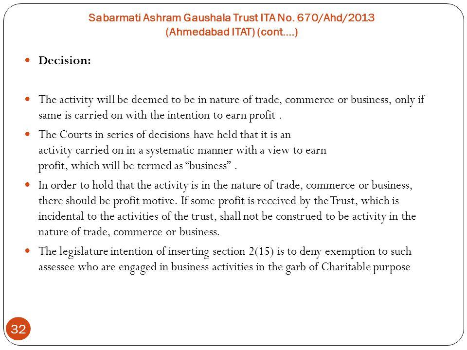 Sabarmati Ashram Gaushala Trust ITA No