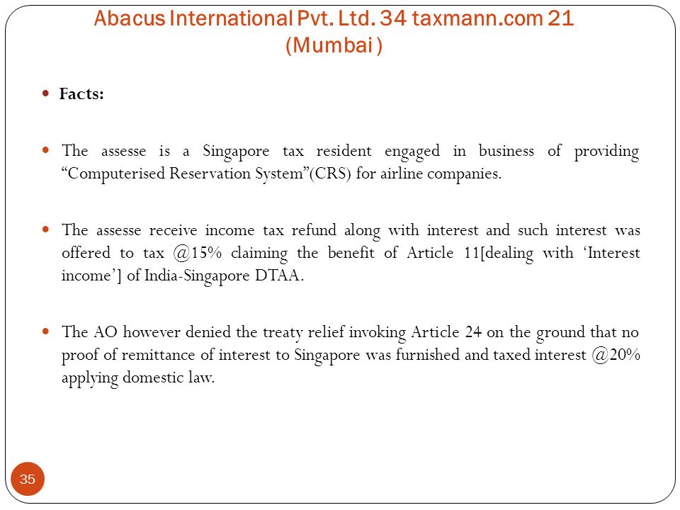 Abacus International Pvt. Ltd. 34 taxmann.com 21 (Mumbai )