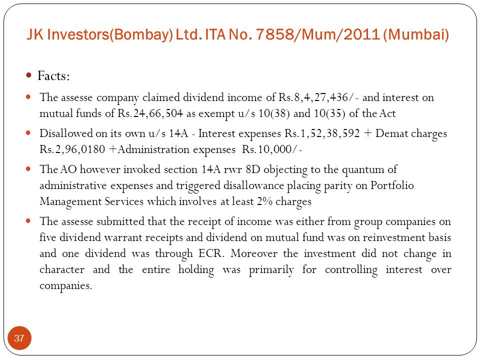 JK Investors(Bombay) Ltd. ITA No. 7858/Mum/2011 (Mumbai)