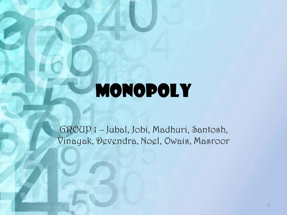 MONOPOLY GROUP 1 – Jubal, Jobi, Madhuri, Santosh, Vinayak, Devendra, Noel, Owais, Masroor