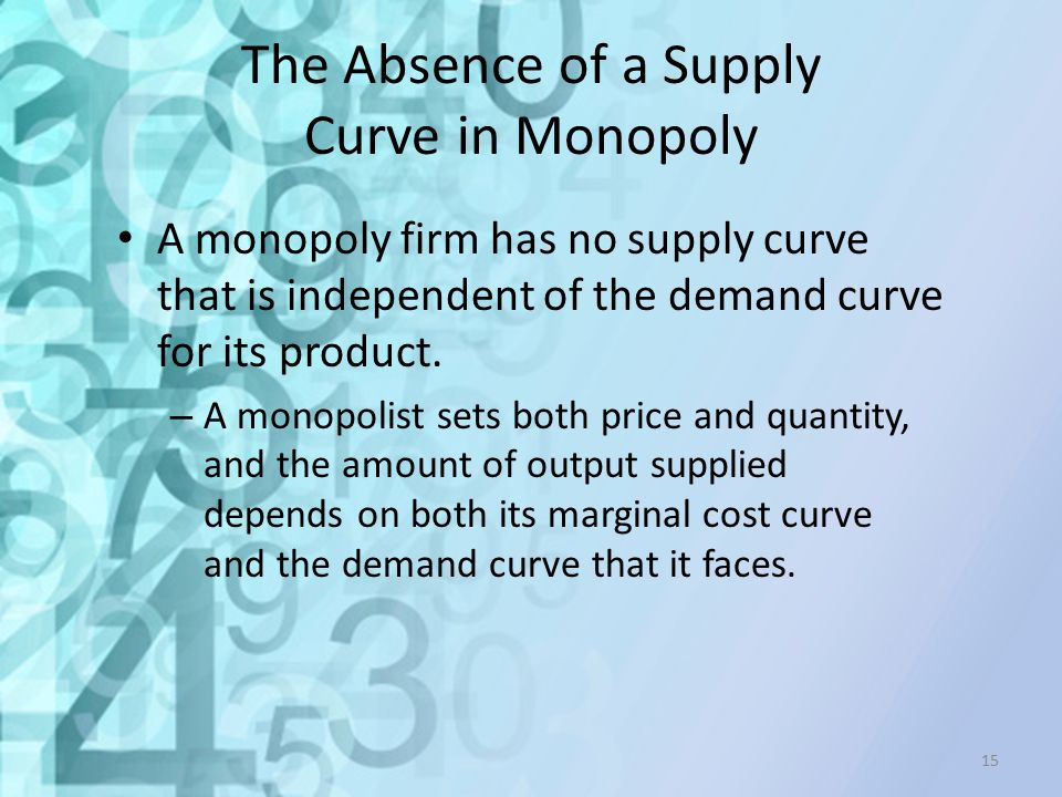 The Absence of a Supply Curve in Monopoly
