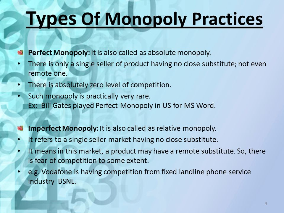 Types Of Monopoly Practices