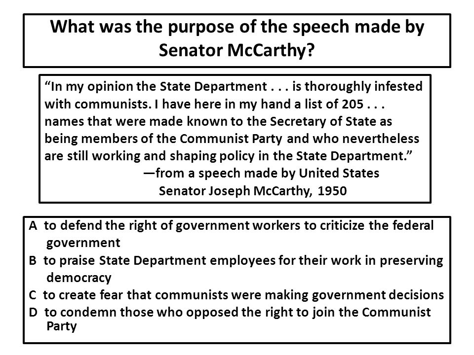 What was the purpose of the speech made by Senator McCarthy