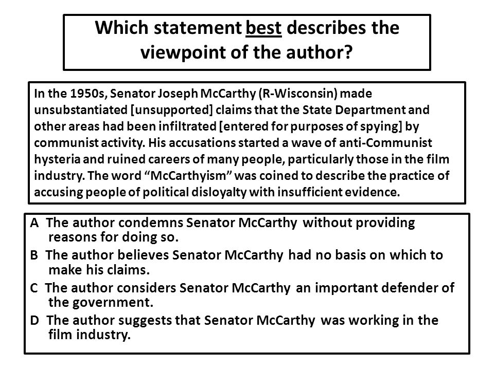 Which statement best describes the viewpoint of the author