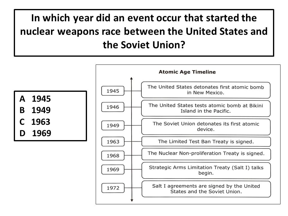 In which year did an event occur that started the nuclear weapons race between the United States and the Soviet Union