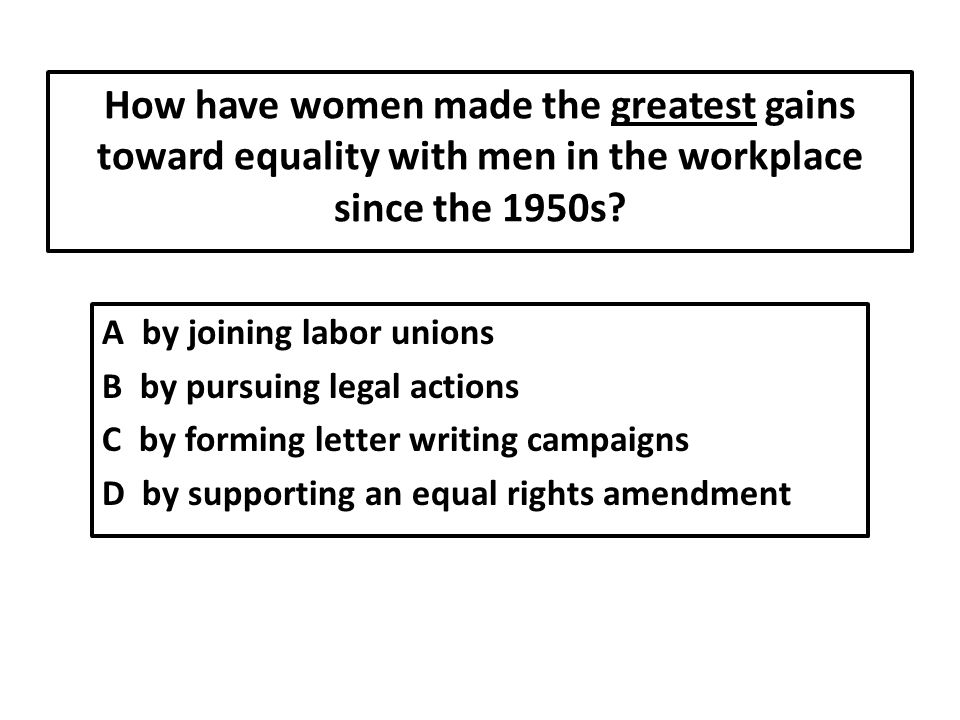 How have women made the greatest gains toward equality with men in the workplace since the 1950s