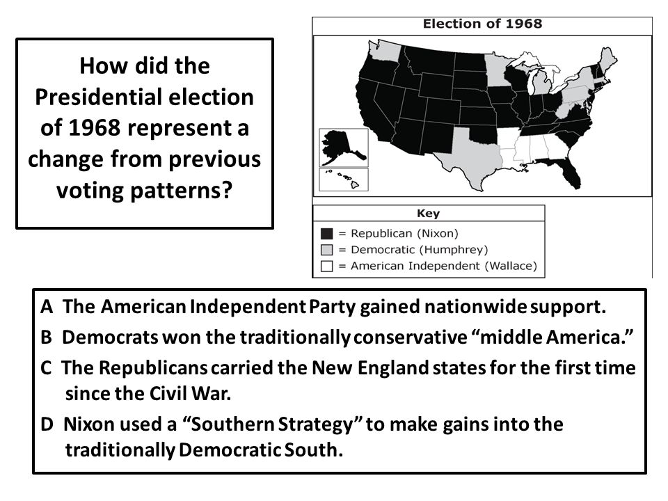 How did the Presidential election of 1968 represent a change from previous voting patterns