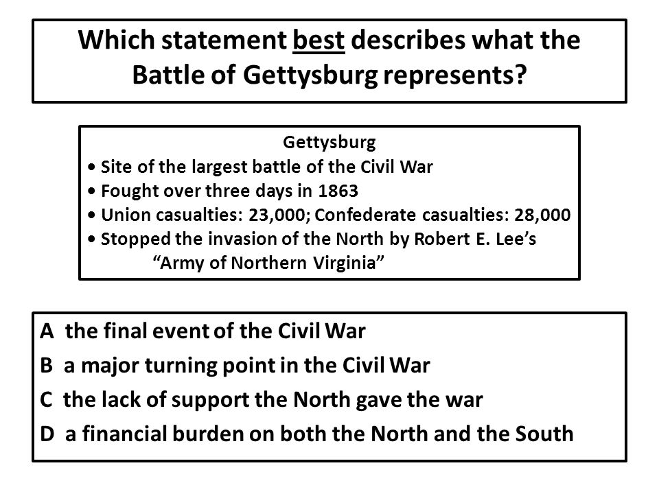 Which statement best describes what the Battle of Gettysburg represents