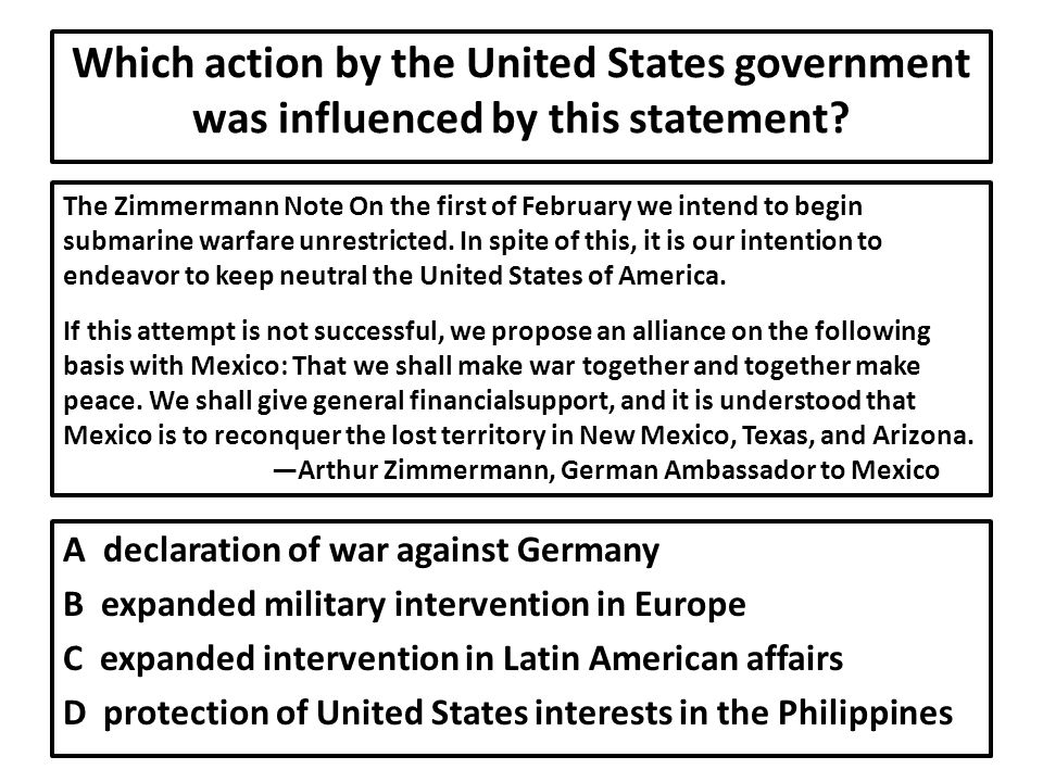 Which action by the United States government was influenced by this statement
