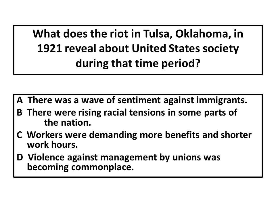 What does the riot in Tulsa, Oklahoma, in 1921 reveal about United States society during that time period