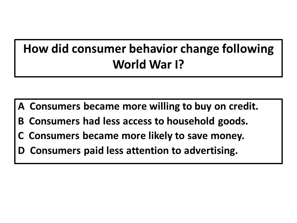 How did consumer behavior change following World War I