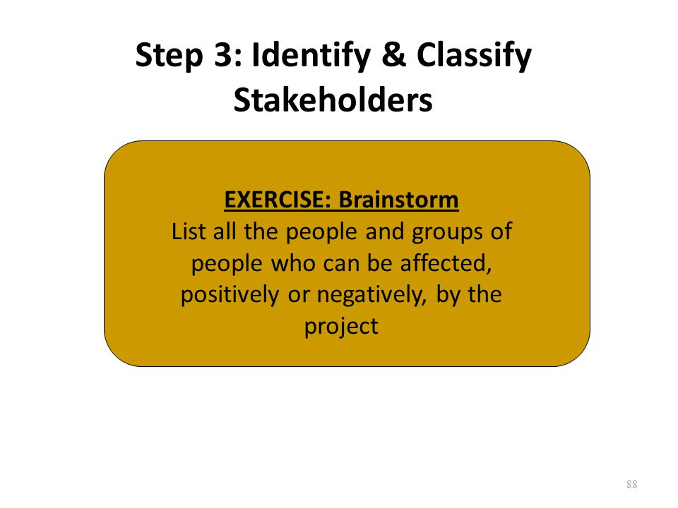 Step 3: Identify & Classify Stakeholders