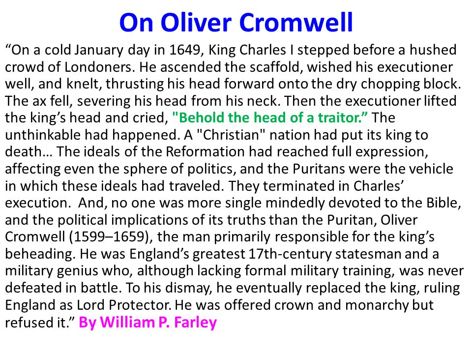 On Oliver Cromwell