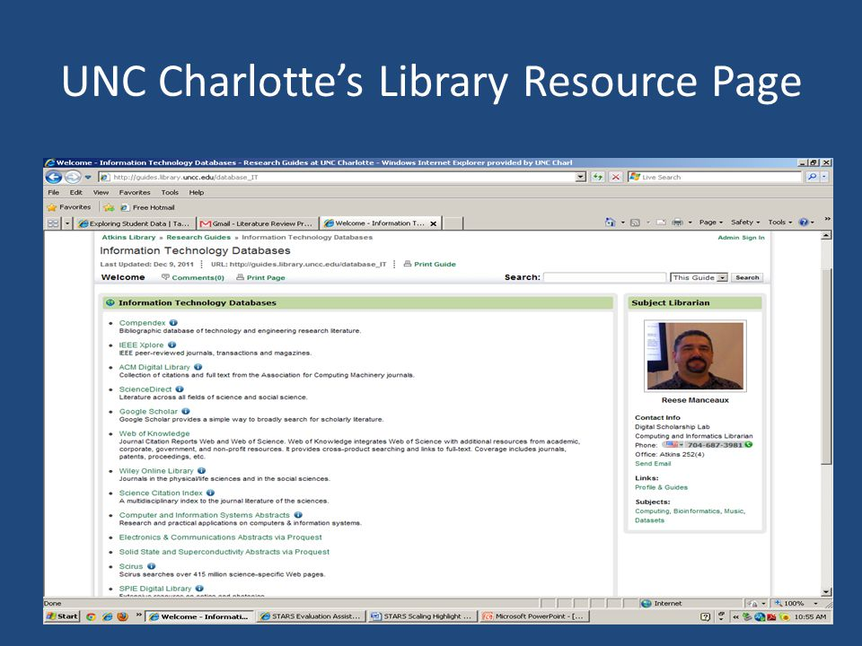 UNC Charlotte's Library Resource Page
