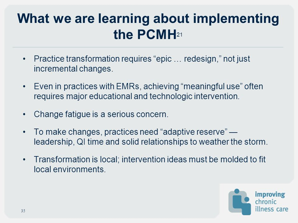 What we are learning about implementing the PCMH21
