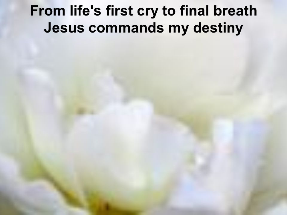 From life s first cry to final breath Jesus commands my destiny