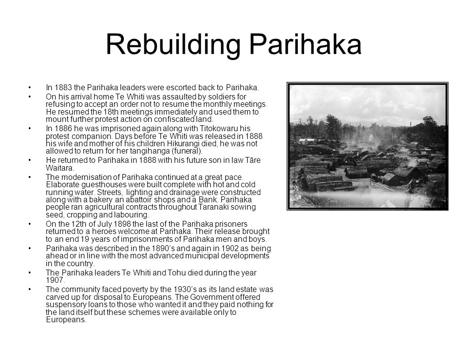 Rebuilding Parihaka In 1883 the Parihaka leaders were escorted back to Parihaka.