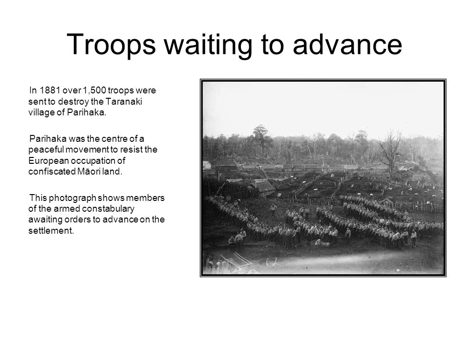 Troops waiting to advance