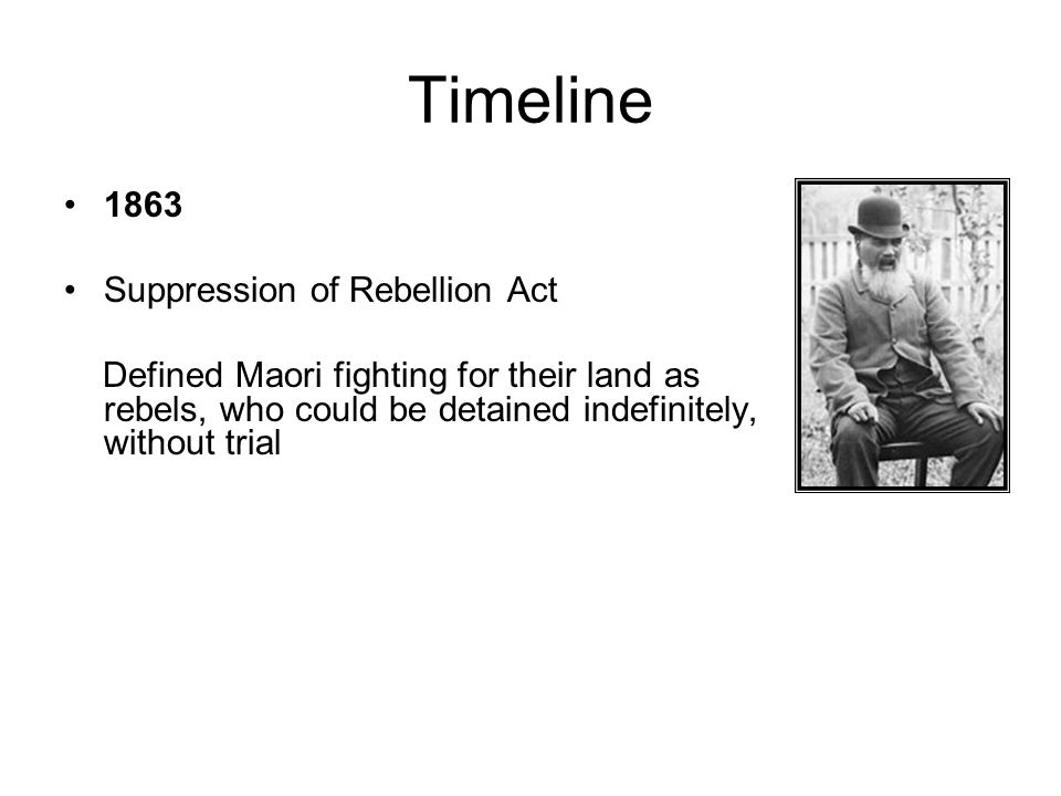 Timeline 1863 Suppression of Rebellion Act
