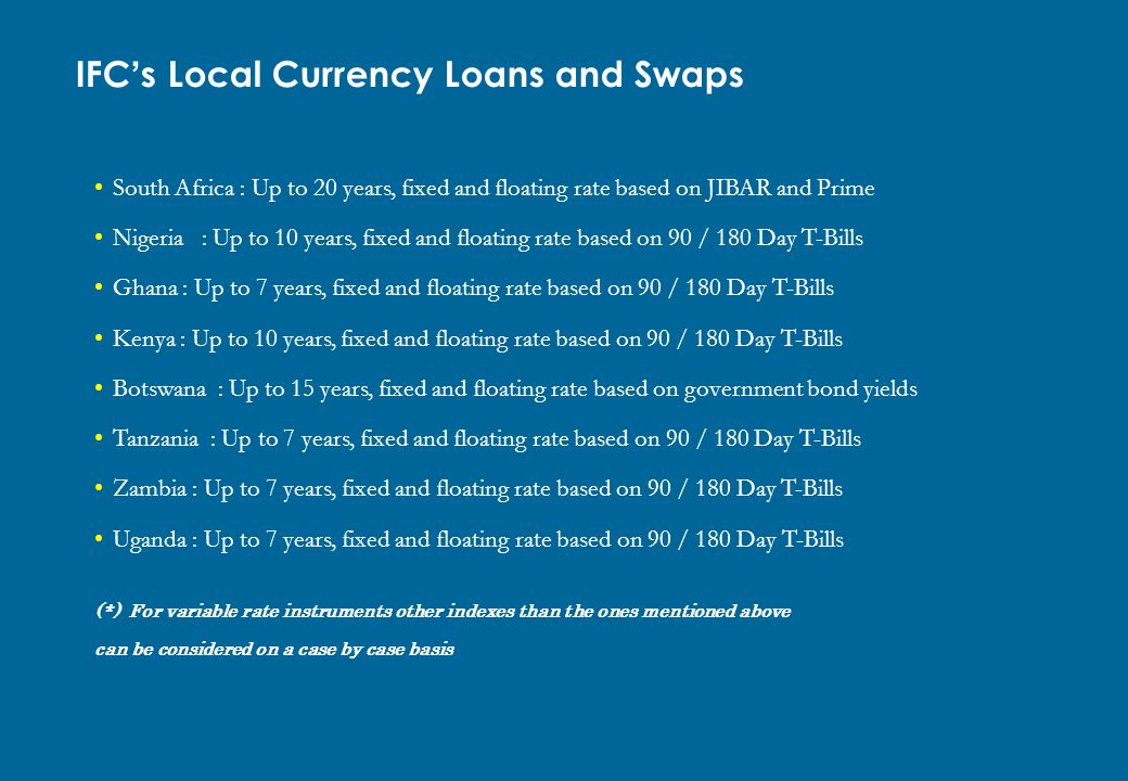 IFC's Local Currency Loans and Swaps