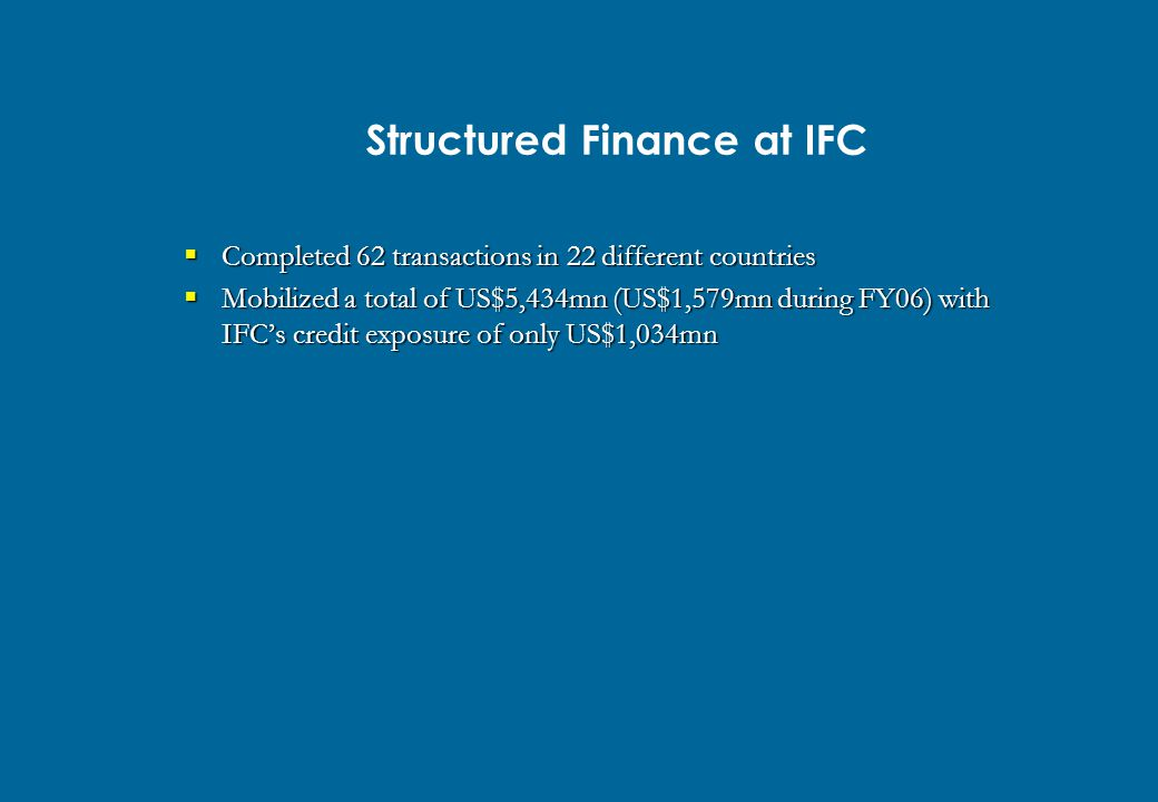 Structured Finance at IFC