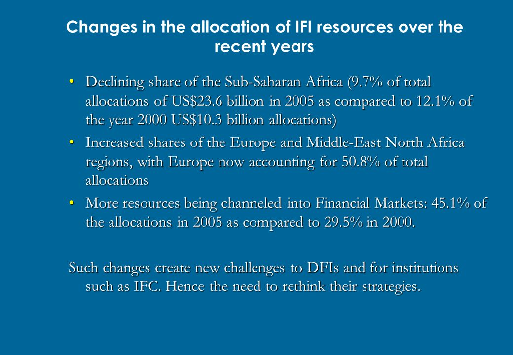 Changes in the allocation of IFI resources over the recent years