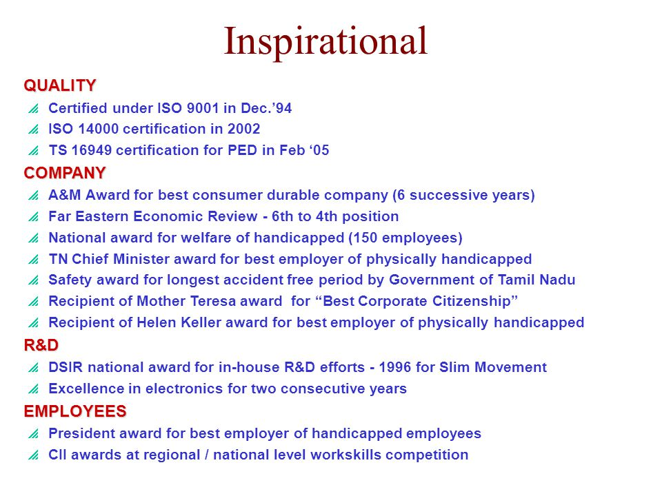 Inspirational QUALITY COMPANY R&D EMPLOYEES