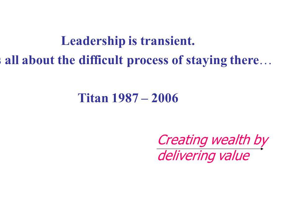 Leadership is transient.