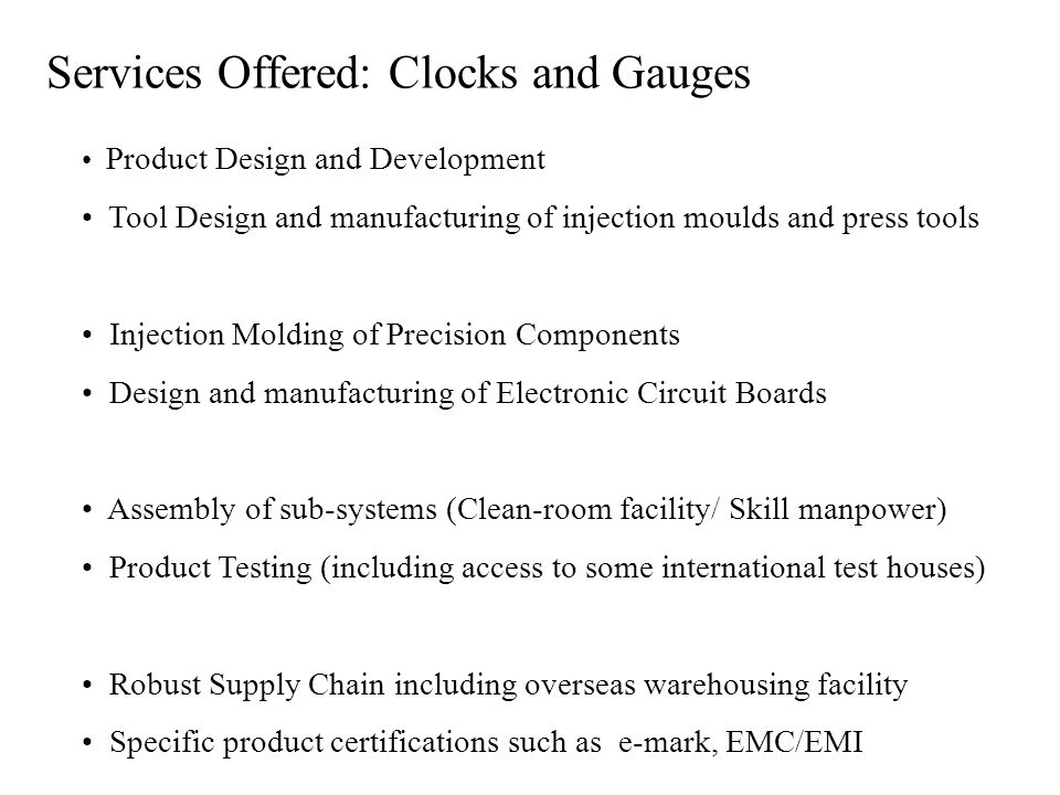 Services Offered: Clocks and Gauges