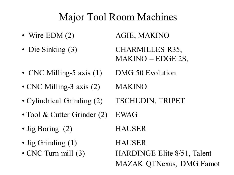 Major Tool Room Machines