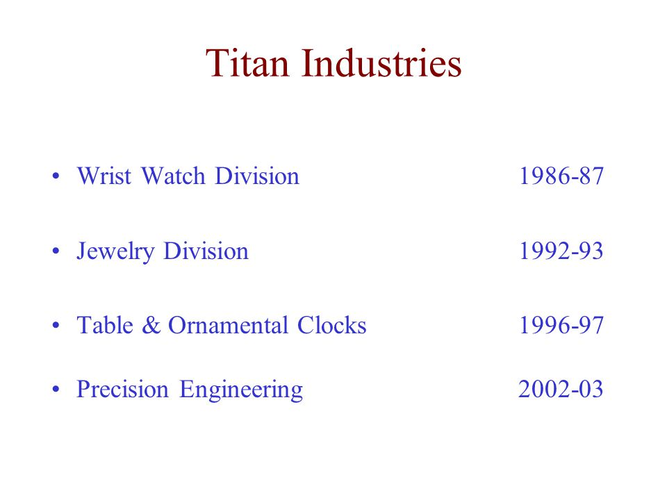 Titan Industries Wrist Watch Division 1986-87 Jewelry Division 1992-93